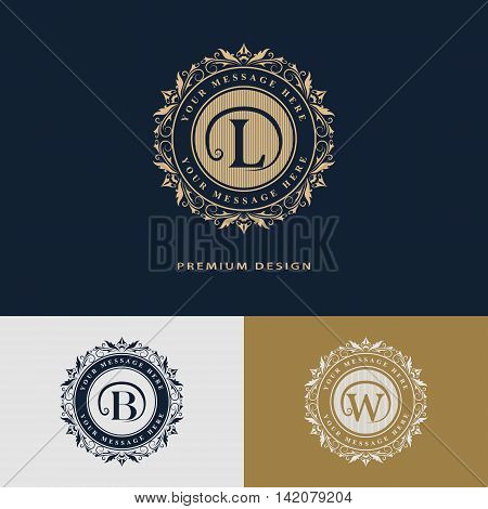 Vector illustration of Luxury Logo template flourishes calligraphic elegant ornament lines. Letter L B W. Business sign identity for Restaurant Royalty Boutique Hotel Heraldic Jewelry Fashion. Vector illustration