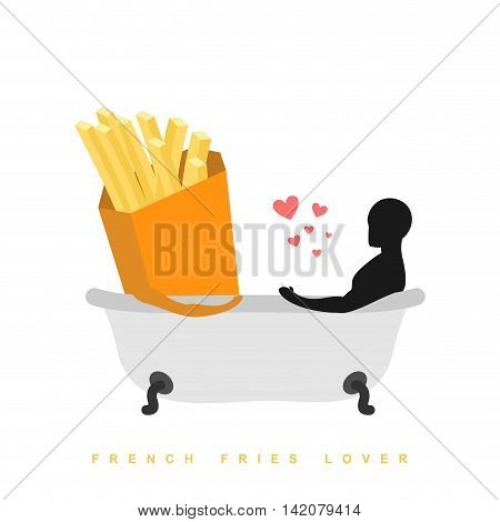 Lover French Fries. I Love Food. Fastfood And Man In Bath. Man And Meal Is Taking Bath. Joint Bathin
