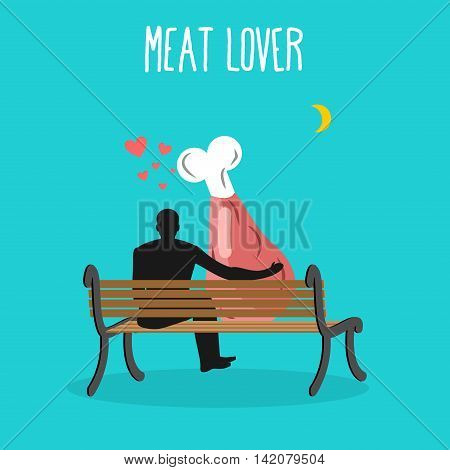 Meat Lovers. Ham And People Are Looking At Moon. Date Night. Man And Beef Sit On Bench. Month In Nig