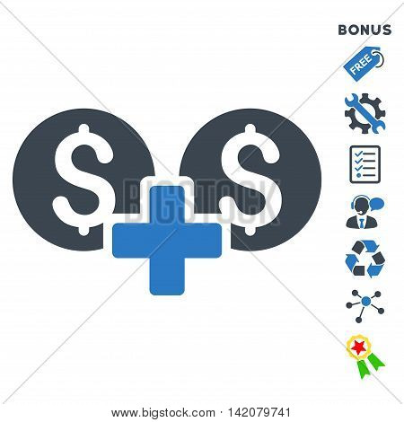 Financial Sum icon with bonus pictograms. Glyph illustration style is flat iconic bicolor symbols, smooth blue colors, white background, rounded angles.