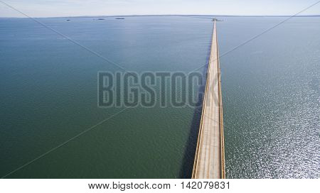 Aerial View Bridge Of Mato Grosso State Border With Sao Paulo State In Brazil. July, 2016