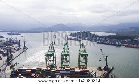 Aerial View Port Of Santos - Container Ship Being Loaded At The Port Of Santos, Brazil. July, 2016