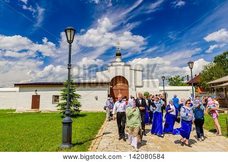 Island Sviyazhsk, Russia - June 12, 2016: pilgrims and visitors to the monastery on Sviyazhsk island in the June 12, 2016, Sviyazhsk island, Russia.