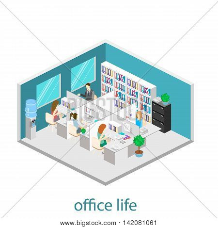 Flat 3D Isometric Abstract Office Floor Interior Departments Concept Vector.  Office Life. Office Wo