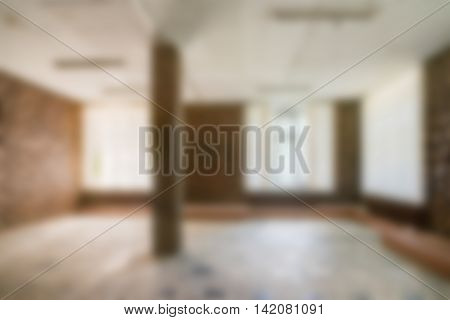 Common office building interior  theme creative abstract blur background with bokeh effect