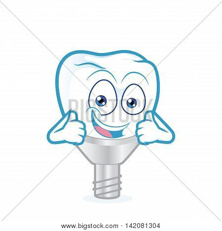 Clipart picture of a tooth implant cartoon character giving two thumbs up