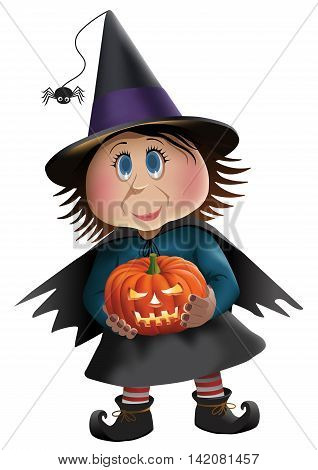Vector illustration of a cute witch with a pumpkin.