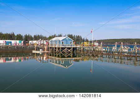 SAINT GEORGE MAINE USA: July 6 2016: Crab farm and crab cages on Saint George Peninsula Maine USA