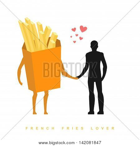 Lover French Fries. In Love With Food. Man And Fastfood. Lovers Holding Hands. Romantic Illustration