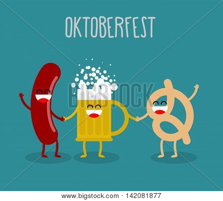 Beer, Sausage And Pretzel Friends. Oktoberfest Food. Holiday In Germany. Cute, Funny And Alcohol App