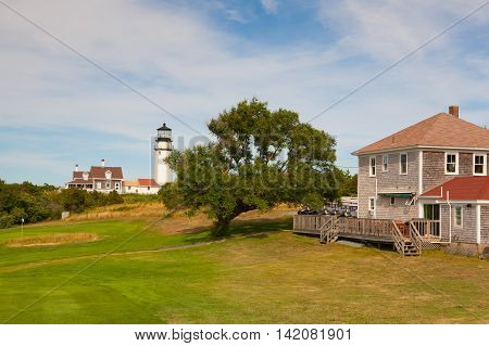 TRURO, MASSACHUSETTS,USA: The Highland Light near the golf coursepreviously known as Cape Cod Light) is an active lighthouse on the Cape Cod National Seashore in North Truro Massachusetts.