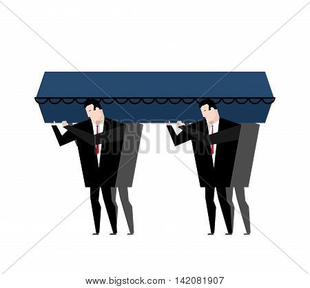Burial. Men Carry Coffin On His Last Journey. Blue Wooden Coffin. Pprocession To Cemetery. Grief Ill