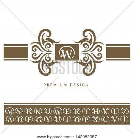 Vector illustration of Vintage Ornament Greeting Card Vector Template. Retro Luxury Invitation Royal Certificate. Flourishes frame. Emblem letter W