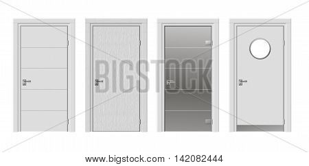 Set of four doors with modern glass in white color vector graphics