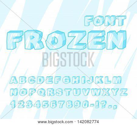 Frozen Font. Ice Alphabet. Transparent Abc. Cold Blue Letters