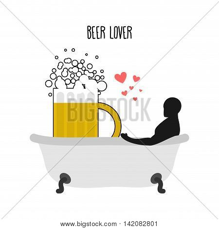 Beer Lover. Beer Mug And Man In Bath. Joint Bathing. Passion Feelings Among Lovers. Romantic Illustr