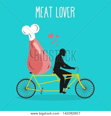 Meat Lovers. Ham On Bicycle. Lovers Of Cycling. Man Rolls Pork On Tandem. Joint Walk With Hind Quart