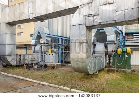View on Fumes installation - Poland. Power Station.