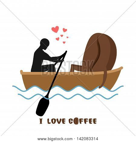 Coffee Lovers. Man And Coffee Beans  Ride In Boat. Lovers Of Sailing. Man Rolls Meal On Gondola. App