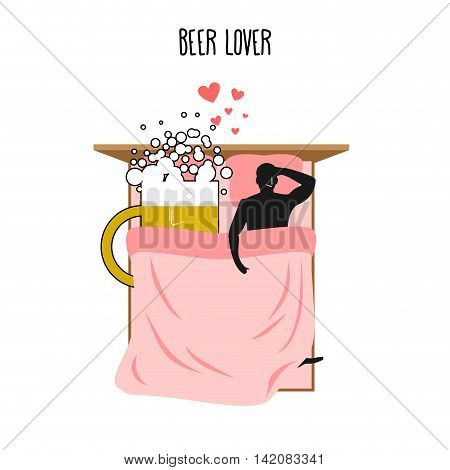 Beer Lover. Beer Mug And Man. Lovers In Bed Top View. Smoking After Sex. Pillow And Blanket. Smoking