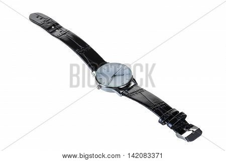 watch strap leather classic black while the white insulation