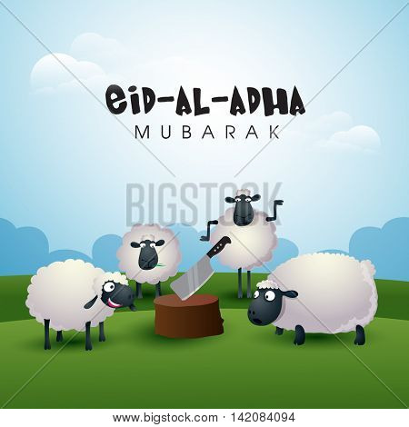 Muslim Community, Festival of Sacrifice, Eid-Al-Adha Celebration with illustration of Sheeps and Butcher's Block on nature background, Vector illustration.