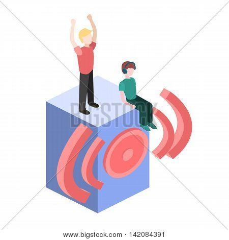 Isometric People Dance. Flat 3D Illustration.