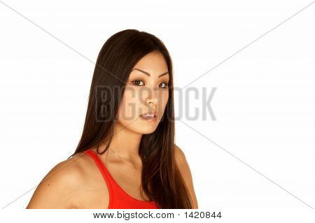 Asian Woman Looking At The Camera