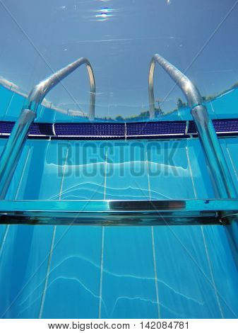 Steps to the pool from underwater