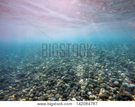 pebbles on the seabed