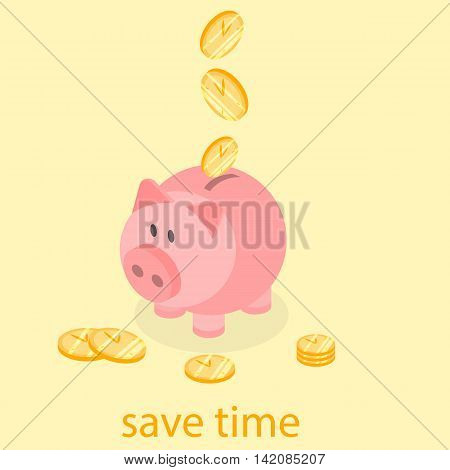 Time Is Money Piggy Bank. Save Time
