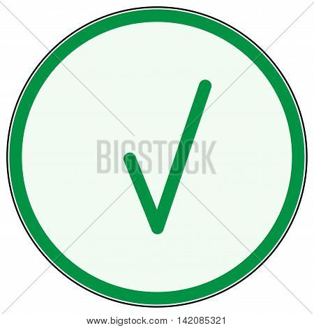 Tick in green ring sign. Isolated on white background. Symbol correct in green circle. Positive marks. Agree choice sticker . Flat vector image. Vector illustration