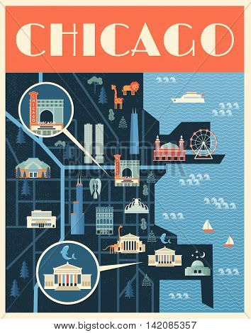 Vector poster illustration of map with landmarks of Chicago. Famous places, historical buildings, sightseeing and known museums. Flat style.
