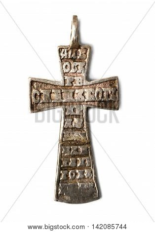 old vintage pectoral cross with inscriptions isolated on white background