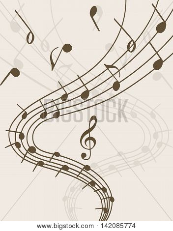 Extravaganza of music.  Stave and notes on light background
