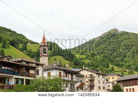 Village Valtorta with mountain in Lombardy Italy