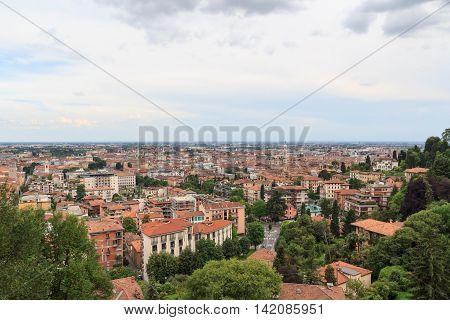 Bergamo Cityscape Panorama Seen From Citta Alta, Italy