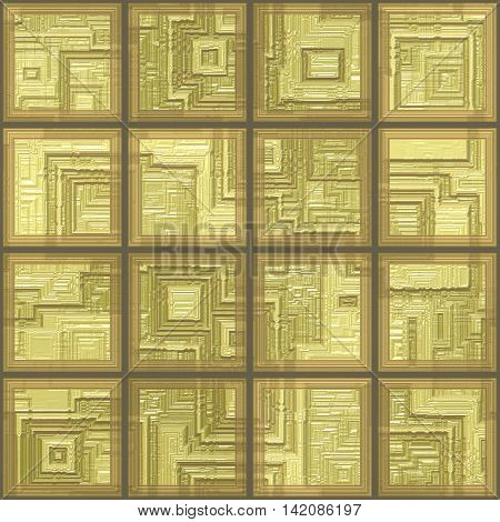 Glass yellow tiles seamless generated texture background