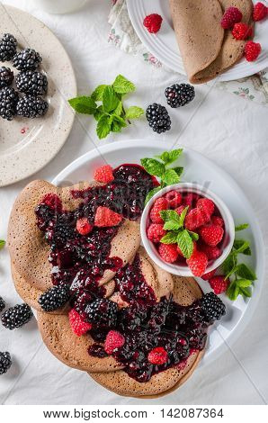 Cocoa Pancakes With Forest Fruit