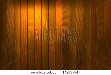 Vector wood background with light effect. Wooden desk with vertical red wood plank, old oak floor. Vector illustration stock vector.