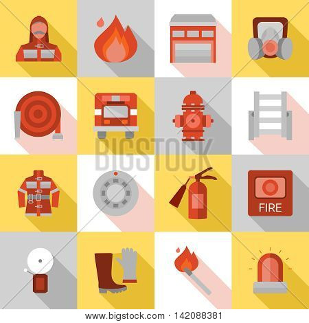 Fire station long shadow flat icons with equipment and protective clothing truck and building isolated vector illustration