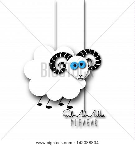 Muslim community festival of sacrifice Eid-Al-Adha greeting card with sheep. Vector illustration eps10.