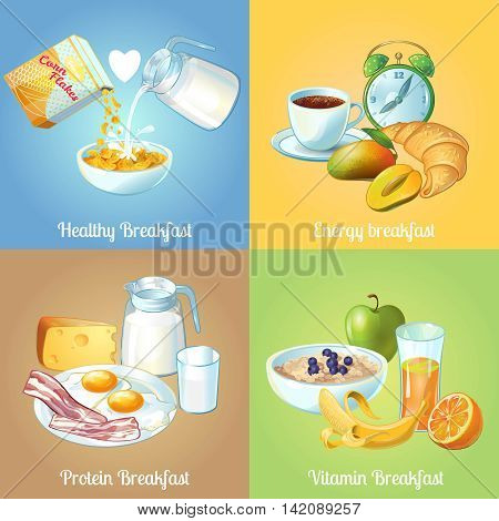 Four breakfast compositions or icon set with healthy energy protein and vitamin breakfast descriptions vector illustration
