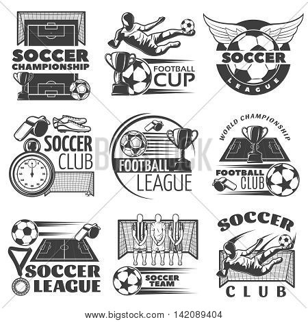 Soccer black white emblems of clubs and tournaments with sports equipment trophies players isolated vector illustration