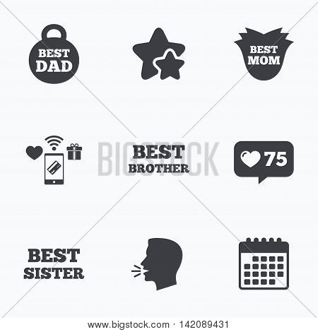 Best mom and dad, brother and sister icons. Weight and flower signs. Award symbols. Flat talking head, calendar icons. Stars, like counter icons. Vector