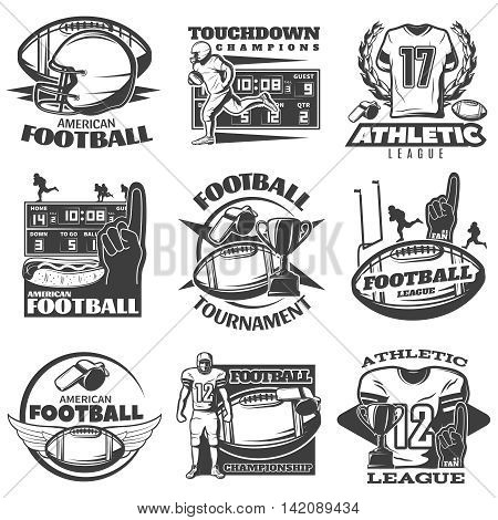 American football black white emblems with player trophy foam hand sports clothing and equipment isolated vector illustration