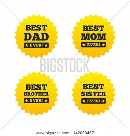 Best mom and dad, brother and sister icons. Award with exclamation symbols. Yellow stars labels with flat icons. Vector