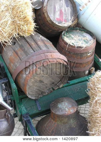 Old Barrels with Straw
