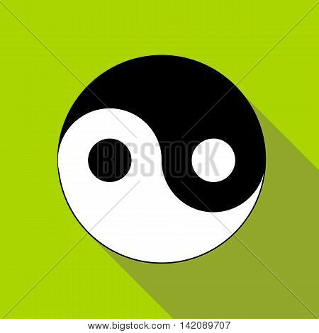 Yin Yang symbol icon in flat style isolated with long shadow