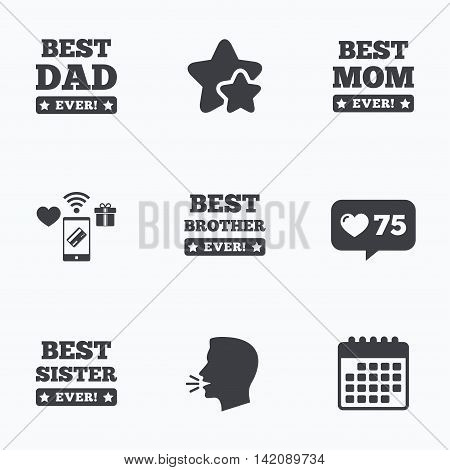 Best mom and dad, brother and sister icons. Award with exclamation symbols. Flat talking head, calendar icons. Stars, like counter icons. Vector